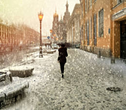 Картинки Санкт-Петербург Россия Улица Зонт Снег Уличные фонари Города Девушки
