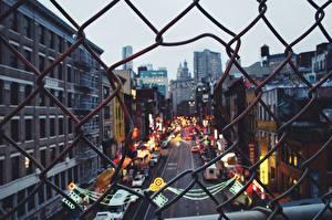 Картинка США Дороги Нью-Йорк Забор Улица Города