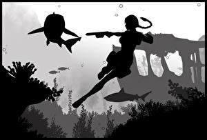 Фотография Tomb Raider Underworld Лара Крофт Силуэта Игры Девушки