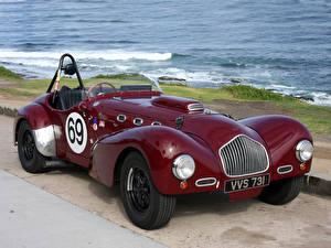 Фотография Винтаж Берег Бордовый Металлик Родстер 1952 Allard K2 Roadster Race Car машина