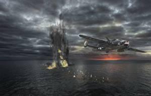 Обои Самолеты Корабли Взрывы Рисованные B-25 Mitchell Авиация фото