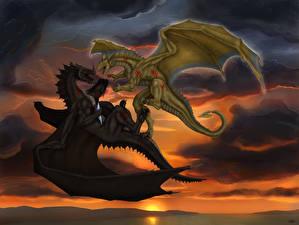 Картинка Дракон Битвы Двое Крылья Фантастика