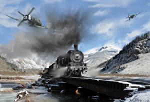 Обои Самолеты Рисованные Поезда Локомотив Дым Two P-47 s attack a troop train somewhere in Germany during Авиация фото