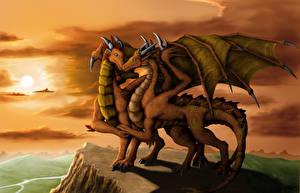 Фотографии Драконы Любовь 2 Крылья Фэнтези