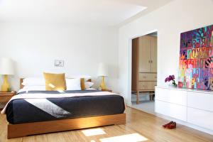 Картинки Комната Кровать Спальня