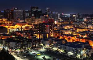 Картинка Штаты Дома Сан-Диего Улица Ночные Сверху Города
