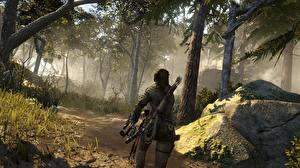 Картинки Rise of the Tomb Raider Лучники Лес Лара Крофт компьютерная игра Девушки 3D_Графика