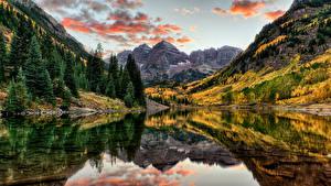 Фотография США Горы Озеро Леса Осень Пейзаж Ель Maroon Bells Colorado Природа