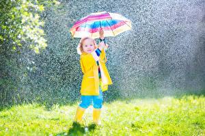 Картинка Дождь Девочки Зонт Дети