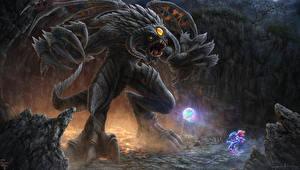 Обои DOTA 2 Puck Демоны Магия Roshan Dota 2 Игры Фэнтези фото
