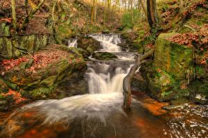 Картинки Англия Осень Водопады Камни Листья Ручей Jepsons Clough waterfall Rivington Природа