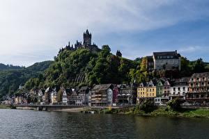 Картинки Германия Замки Берег Кохем Небо Moselle River