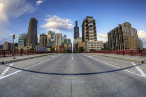 Фотография Штаты Дороги Дома Мосты Чикаго город Асфальт Города