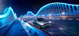 Фотография Jaguar Мосты Дороги Ночные Движение 2015 XF S AWD Авто