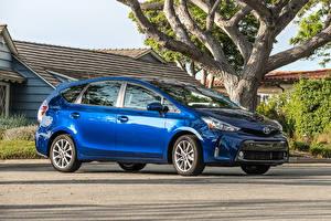 Фотография Тойота Голубой Металлик Синий 2016 Prius V Автомобили