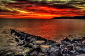Обои Побережье Камни Рассветы и закаты HDR Природа фото