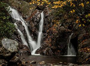 Картинки Водопады Камень Утес Природа