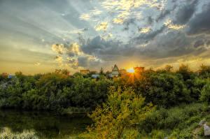 Обои Россия Пейзаж Рассветы и закаты Речка Деревья Облака Volgodonsk Природа
