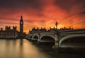 Фотография Англия Мосты Речка Лондон Биг-Бен