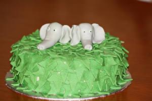 Фотографии Сладости Торты Слоны Дизайн Цветной фон Еда