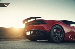 Картинки Lamborghini Колесо Красный Бордовый Huracan Vorsteiner Автомобили