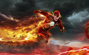 Обои Огонь Флэш телесериал 2014 Флэш герои Молния art Barry Allen Professor Zoom Reverse-Flash Eobard Thawne Фэнтези фото