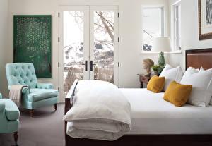 Картинка Интерьер Кровать Спальня Подушки