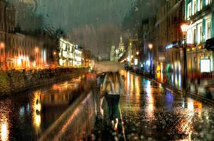 Фотография Санкт-Петербург Дождь Россия Улица Зонт Города