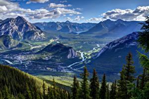 Фото Пейзаж Канада Парки Гора HDRI Банф Ель Облако Природа
