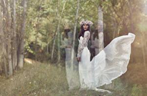 Фотография Леса Невеста Платье Природа Девушки