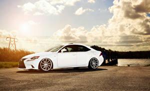Фото Lexus Небо Белый Сбоку Облака IS F-sport Машины