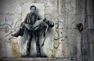 Картинка Рисованные Мужчина Граффити Стене