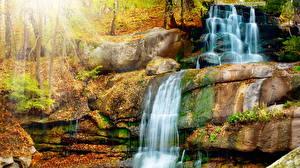 Обои Осенние Водопады Камни Природа