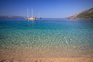 Картинки Хорватия Море Парусные Корабли Воде Природа
