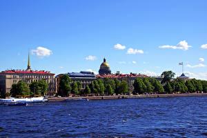 Картинки Россия Санкт-Петербург Дома Реки Города