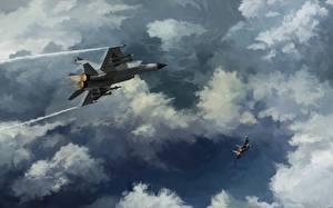 Обои Самолеты Истребители Рисованные Облака MiG-25s Авиация фото