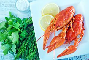 Фотография Морепродукты Раки Укроп Лимоны 2 Пища