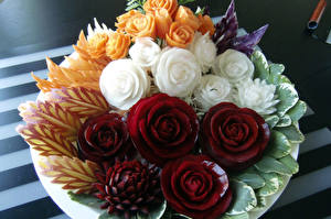 Фото Овощи Фрукты Розы Дизайн Еда