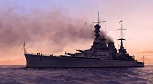 Фотография Корабли Рисованные HMS Renown военные