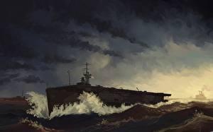 Обои Корабли Рисованные HMS Attacker военные
