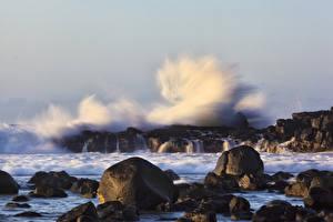 Фотография Море Камни Волны Скала Брызги Природа