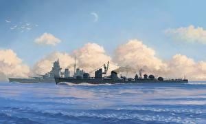 Фото Корабли Рисованные Море IJN destroyer Fuyutsuki Армия