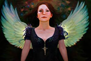 Картинки Картина Ангелы Рисованные Платья Крылья молодая женщина Фэнтези