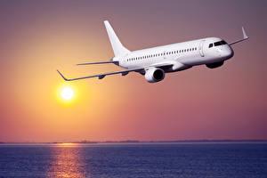 Фотография Самолеты Небо Пассажирские Самолеты Рассветы и закаты Авиация