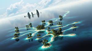 Картинка Море Остров Пальмы 3D_Графика