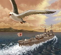 Фото Корабли Рисованные Чайки IJN destroyer Shiranuhi Армия
