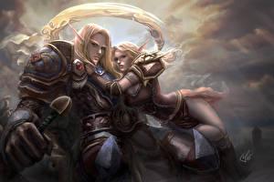 Картинка World of WarCraft Эльф Мужчина Любовники 2 Броня Caelanon, Sanomi Игры Девушки