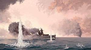 Фотографии Корабль Рисованные Battle of the River Plate военные