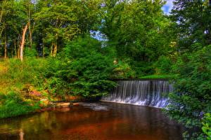 Обои Англия Парки Водопады Деревья HDR Yarrow Valley Country Park Природа фото