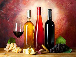 Картинки Напиток Вино Виноград Хлеб Сыры Бутылки Бокалы Продукты питания
